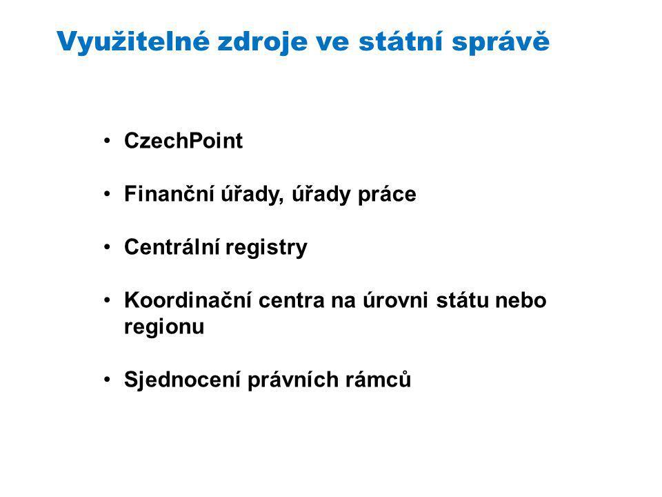Využitelné zdroje ve státní správě CzechPoint Finanční úřady, úřady práce Centrální registry Koordinační centra na úrovni státu nebo regionu Sjednocení právních rámců