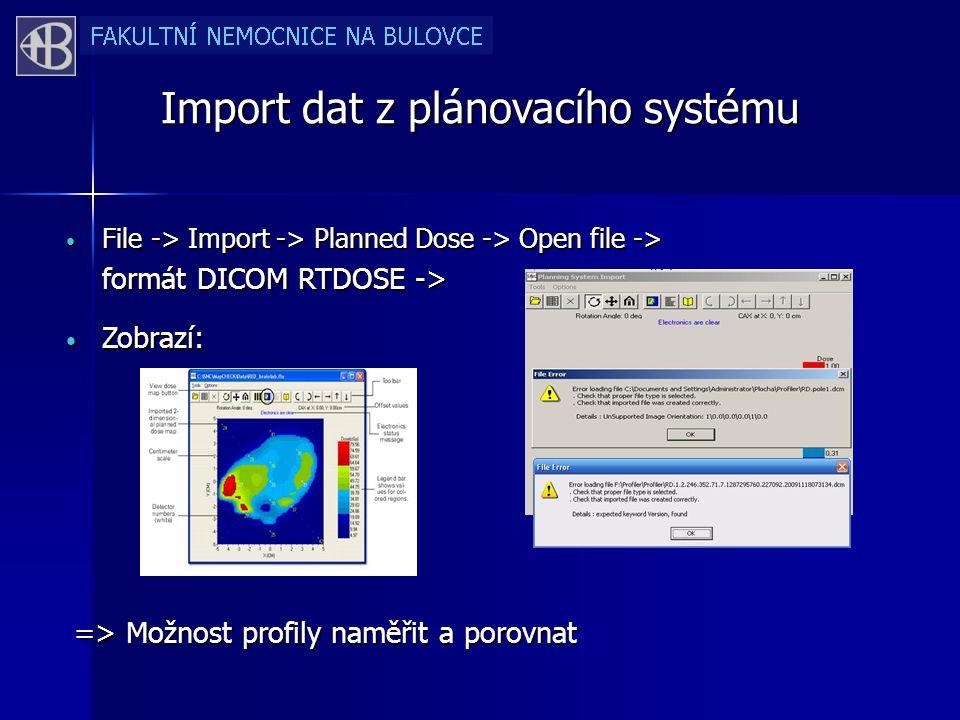 Import dat z plánovacího systému File -> Import -> Planned Dose -> Open file -> File -> Import -> Planned Dose -> Open file -> formát DICOM RTDOSE -> Zobrazí: Zobrazí: => Možnost profily naměřit a porovnat