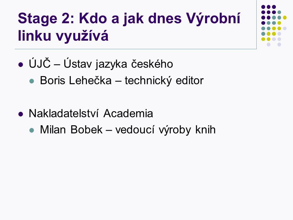 Stage 2: Kdo a jak dnes Výrobní linku využívá ÚJČ – Ústav jazyka českého Boris Lehečka – technický editor Nakladatelství Academia Milan Bobek – vedoucí výroby knih