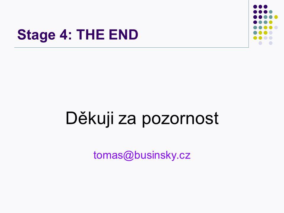 Stage 4: THE END Děkuji za pozornost tomas@businsky.cz