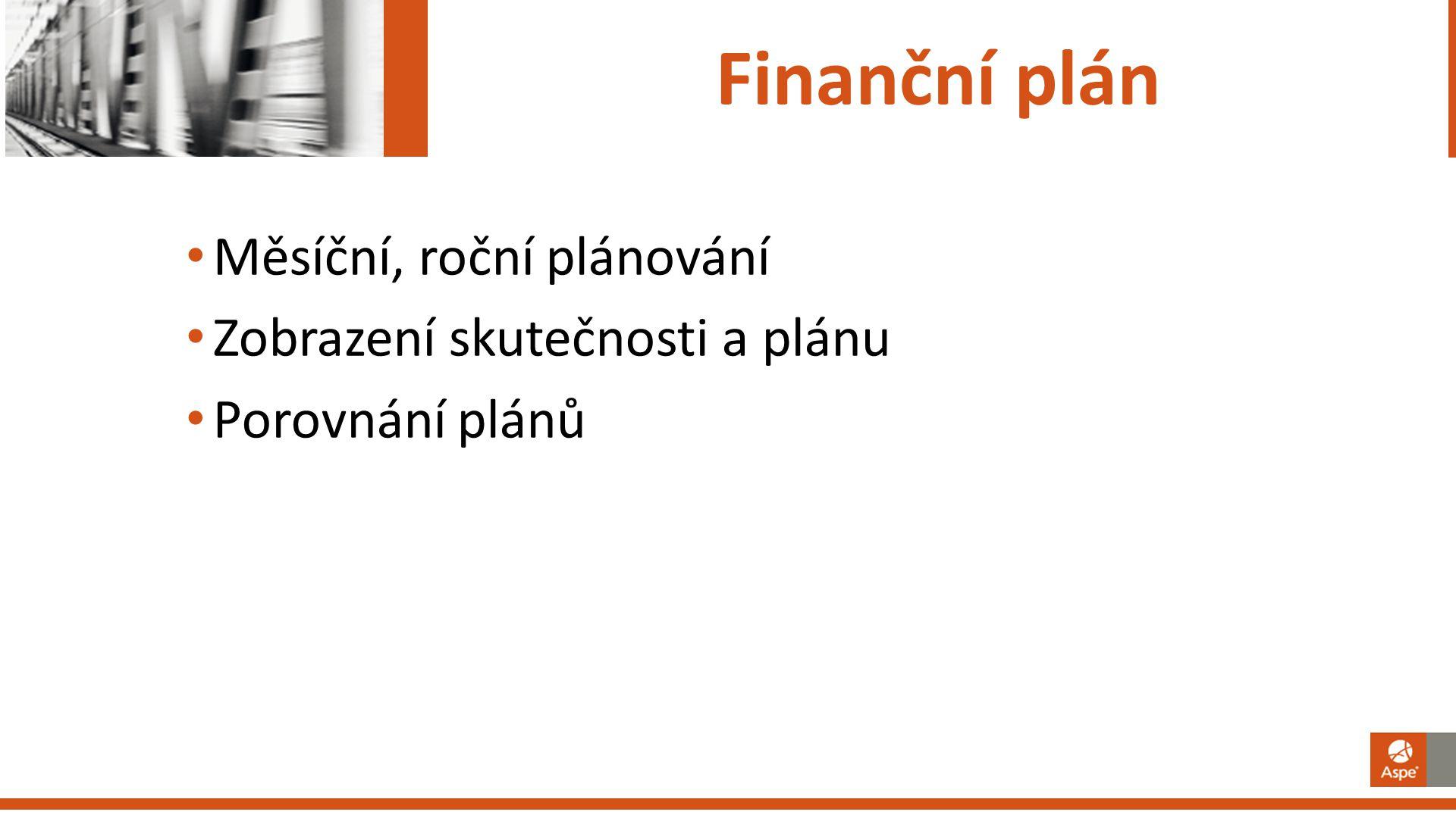 Finanční plán Měsíční, roční plánování Zobrazení skutečnosti a plánu Porovnání plánů