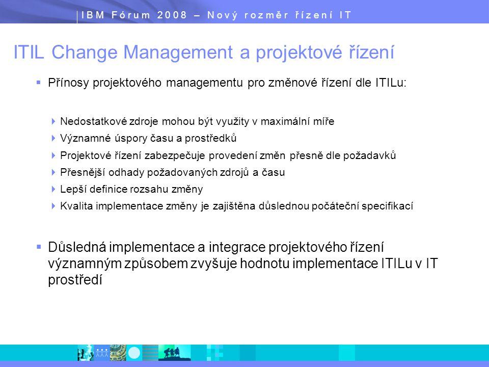 I B M F ó r u m 2 0 0 8 – N o v ý r o z m ě r ř í z e n í I T ITIL Change Management a projektové řízení  Přínosy projektového managementu pro změnov