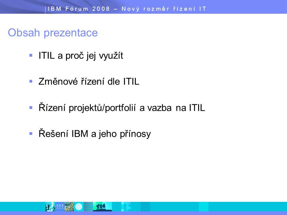 I B M F ó r u m 2 0 0 8 – N o v ý r o z m ě r ř í z e n í I T Obsah prezentace  ITIL a proč jej využít  Změnové řízení dle ITIL  Řízení projektů/po