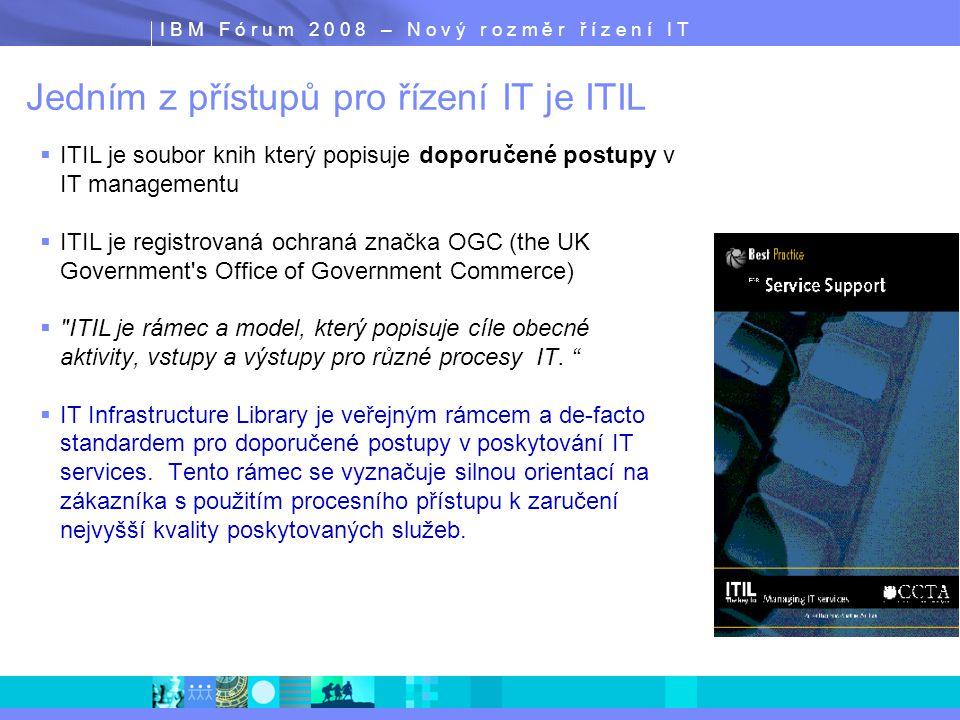 I B M F ó r u m 2 0 0 8 – N o v ý r o z m ě r ř í z e n í I T Jedním z přístupů pro řízení IT je ITIL  ITIL je soubor knih který popisuje doporučené