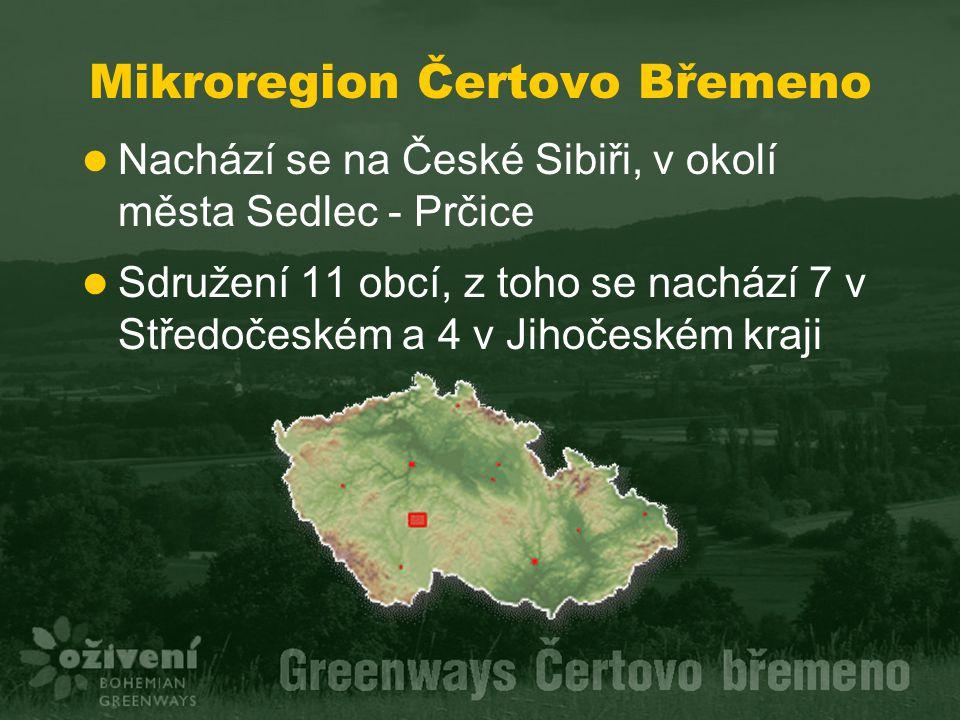 Mikroregion Čertovo Břemeno Nachází se na České Sibiři, v okolí města Sedlec - Prčice Sdružení 11 obcí, z toho se nachází 7 v Středočeském a 4 v Jihoč