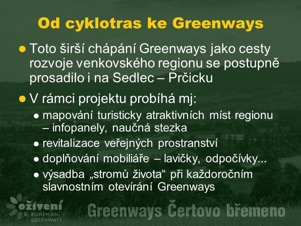 Od cyklotras ke Greenways Toto širší chápání Greenways jako cesty rozvoje venkovského regionu se postupně prosadilo i na Sedlec – Prčicku V rámci proj
