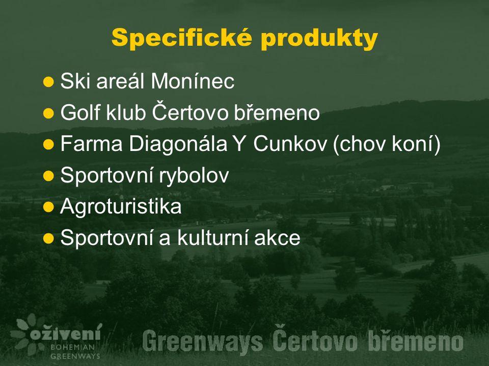 Specifické produkty Ski areál Monínec Golf klub Čertovo břemeno Farma Diagonála Y Cunkov (chov koní) Sportovní rybolov Agroturistika Sportovní a kulturní akce
