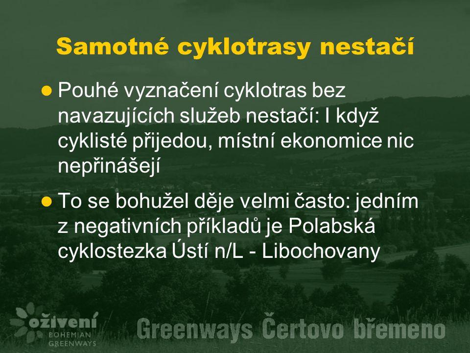 Samotné cyklotrasy nestačí Pouhé vyznačení cyklotras bez navazujících služeb nestačí: I když cyklisté přijedou, místní ekonomice nic nepřinášejí To se bohužel děje velmi často: jedním z negativních příkladů je Polabská cyklostezka Ústí n/L - Libochovany