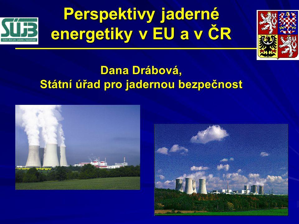 Perspektivy jaderné energetiky v EU a v ČR Dana Drábová, Státní úřad pro jadernou bezpečnost
