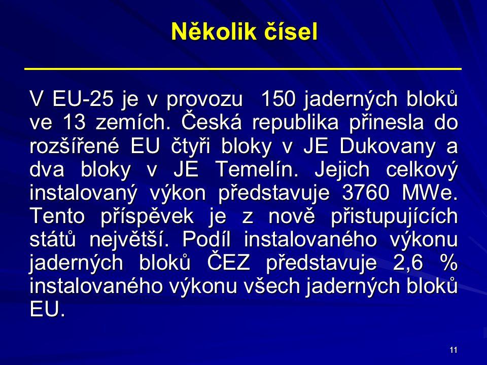11 Několik čísel V EU-25 je v provozu 150 jaderných bloků ve 13 zemích. Česká republika přinesla do rozšířené EU čtyři bloky v JE Dukovany a dva bloky