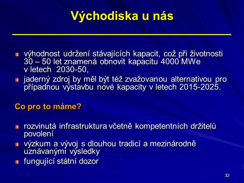 32 Východiska u nás výhodnost udržení stávajících kapacit, což při životnosti 30 – 50 let znamená obnovit kapacitu 4000 MWe v letech 2030-50, jaderný