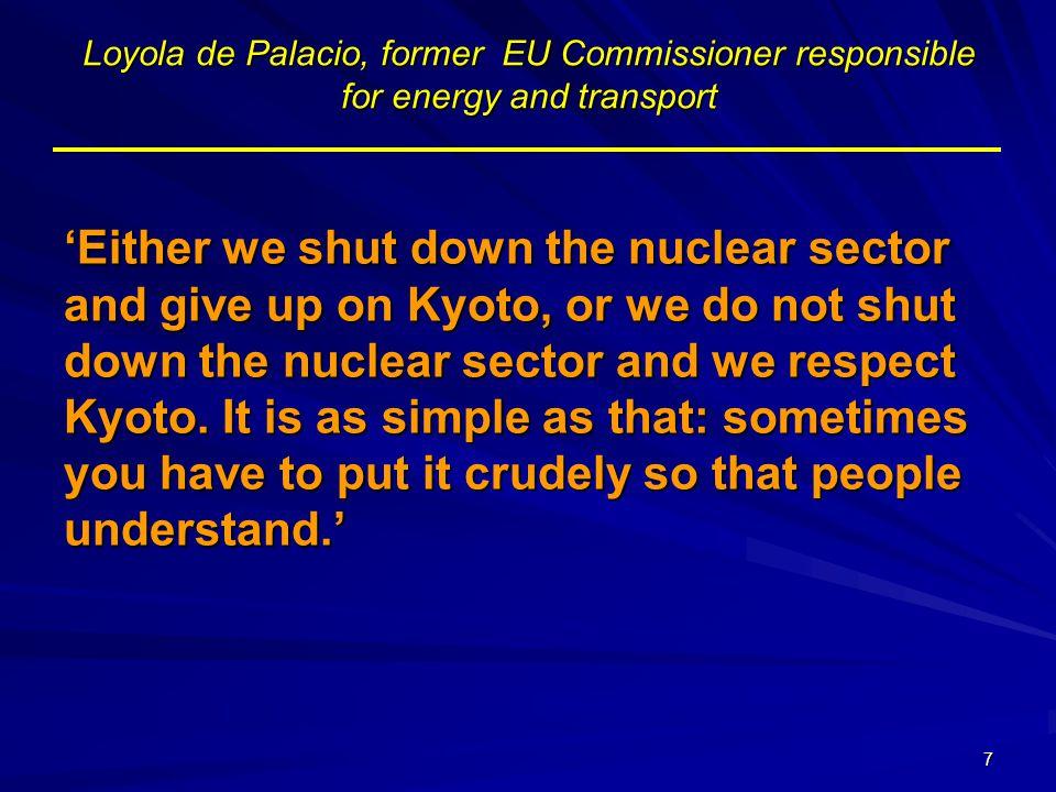18 Nové jaderné elektrárny Moratorium –Belgie –Německo –Nizozemí –Španělsko –Švédsko –Itálie Bez jasného postoje –Velká Británie Výstavba –Finsko –Francie –Slovensko –(Bulharsko, Rumunsko)
