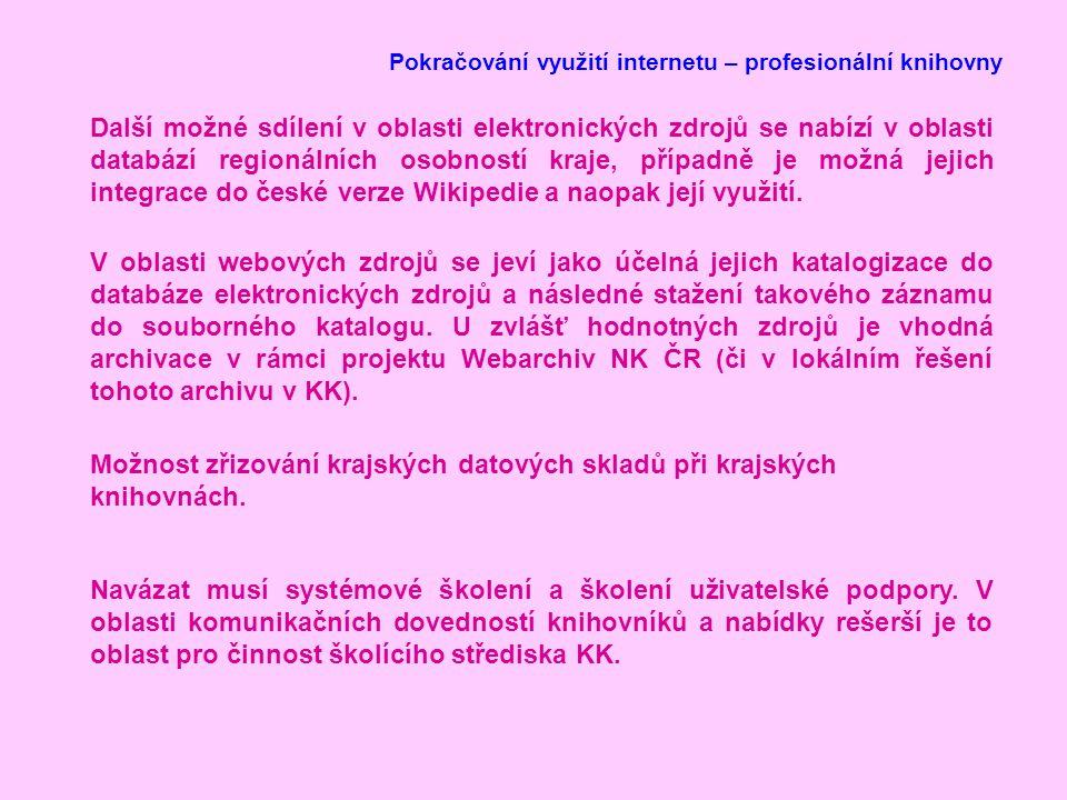 Pokračování využití internetu – profesionální knihovny Další možné sdílení v oblasti elektronických zdrojů se nabízí v oblasti databází regionálních osobností kraje, případně je možná jejich integrace do české verze Wikipedie a naopak její využití.