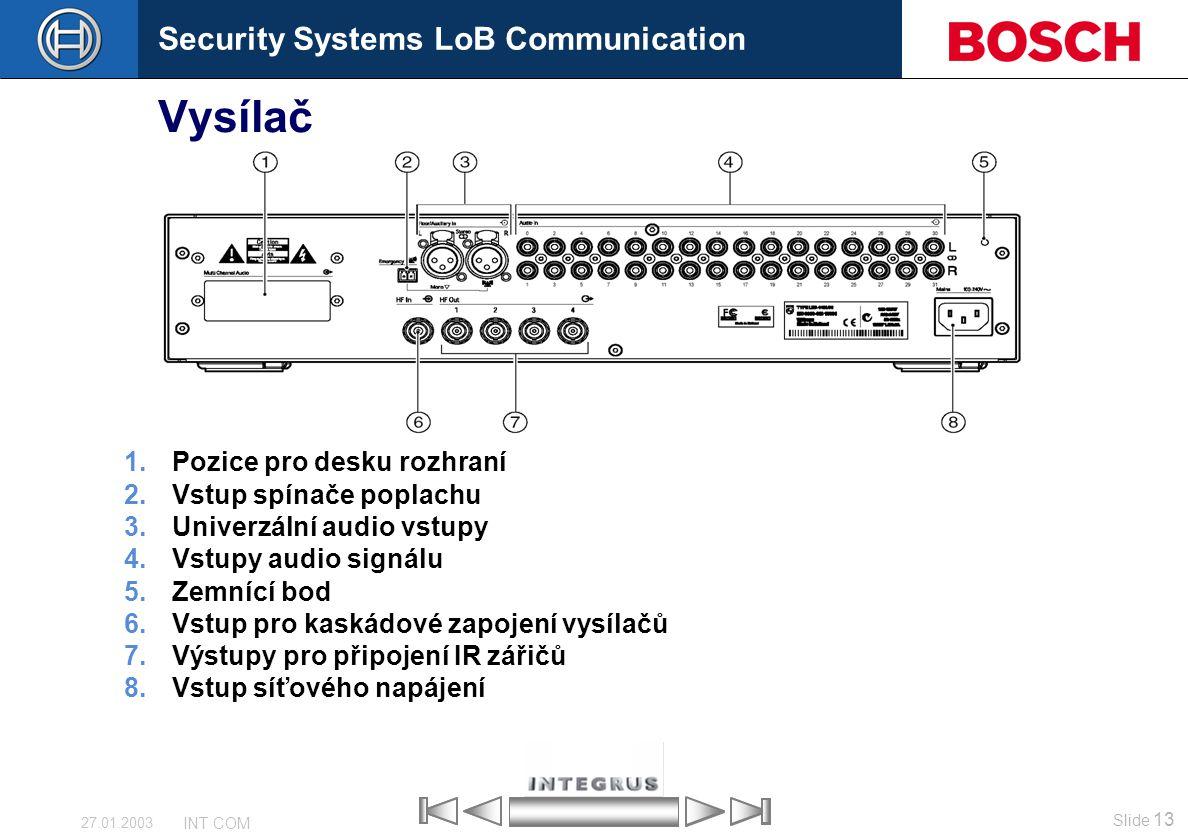 Security Systems LoB Communication Slide 13 INT COM 27.01.2003 Vysílač 1.Pozice pro desku rozhraní 2.Vstup spínače poplachu 3.Univerzální audio vstupy