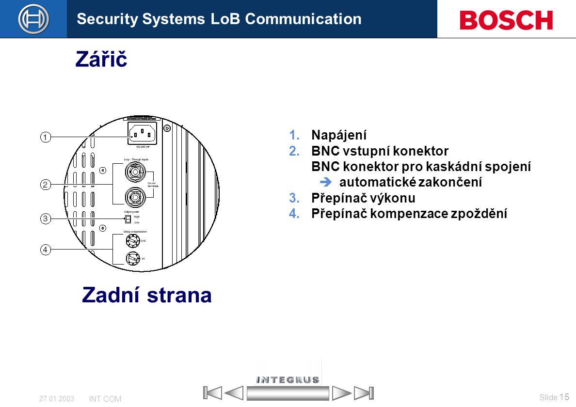 Security Systems LoB Communication Slide 15 INT COM 27.01.2003 Zářič 1.Napájení 2.BNC vstupní konektor BNC konektor pro kaskádní spojení  automatické