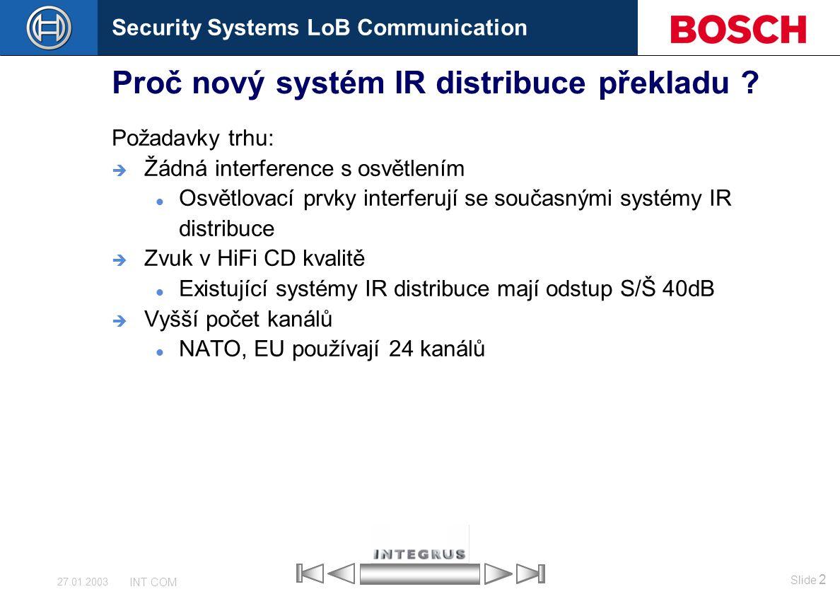 Security Systems LoB Communication Slide 2 INT COM 27.01.2003 Proč nový systém IR distribuce překladu ? Požadavky trhu:  Žádná interference s osvětle
