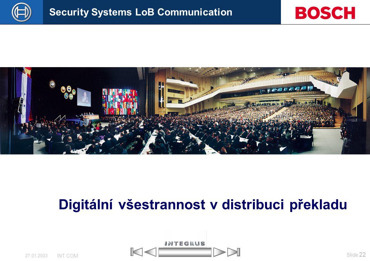Security Systems LoB Communication Slide 22 INT COM 27.01.2003 Digitální všestrannost v distribuci překladu