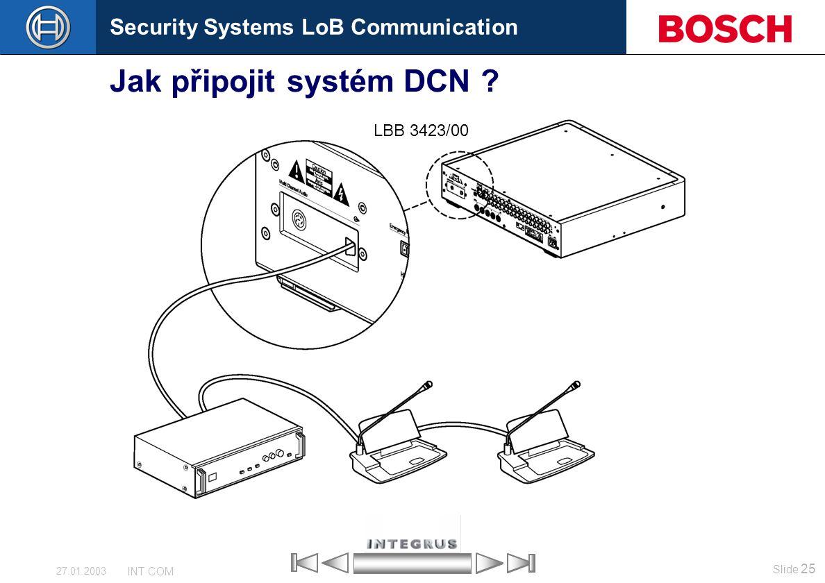Security Systems LoB Communication Slide 25 INT COM 27.01.2003 Jak připojit systém DCN ? LBB 3423/00