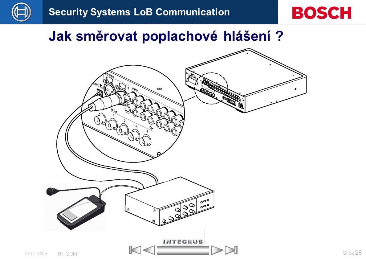 Security Systems LoB Communication Slide 28 INT COM 27.01.2003 Jak směrovat poplachové hlášení ?