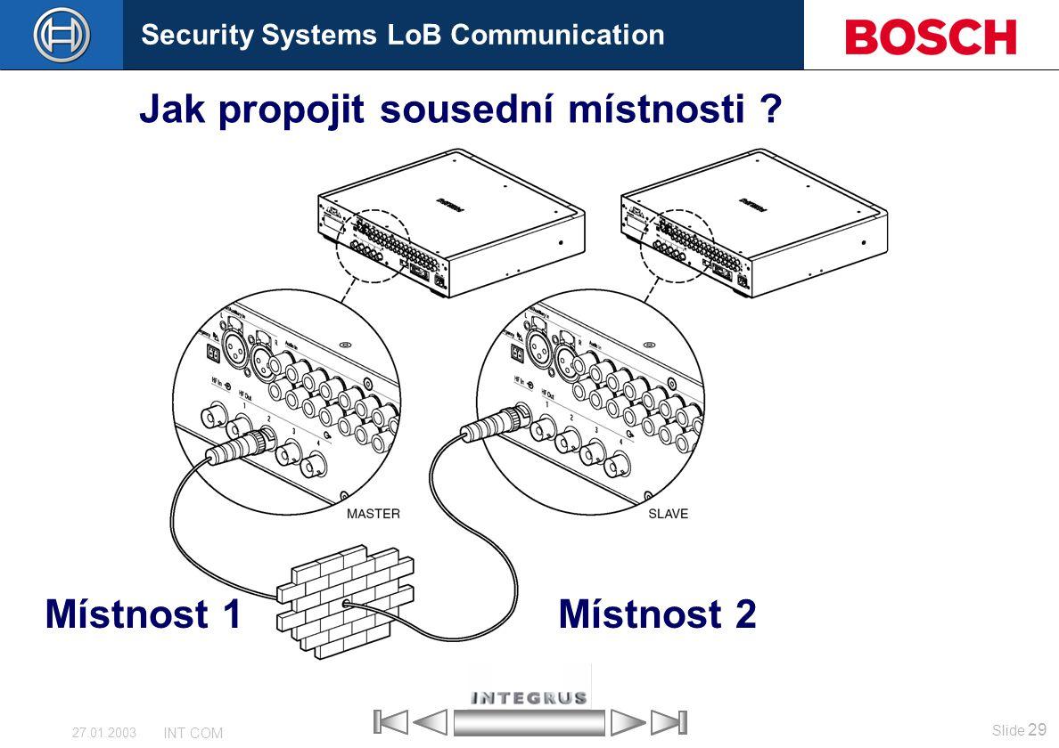 Security Systems LoB Communication Slide 29 INT COM 27.01.2003 Jak propojit sousední místnosti ? Místnost 1Místnost 2
