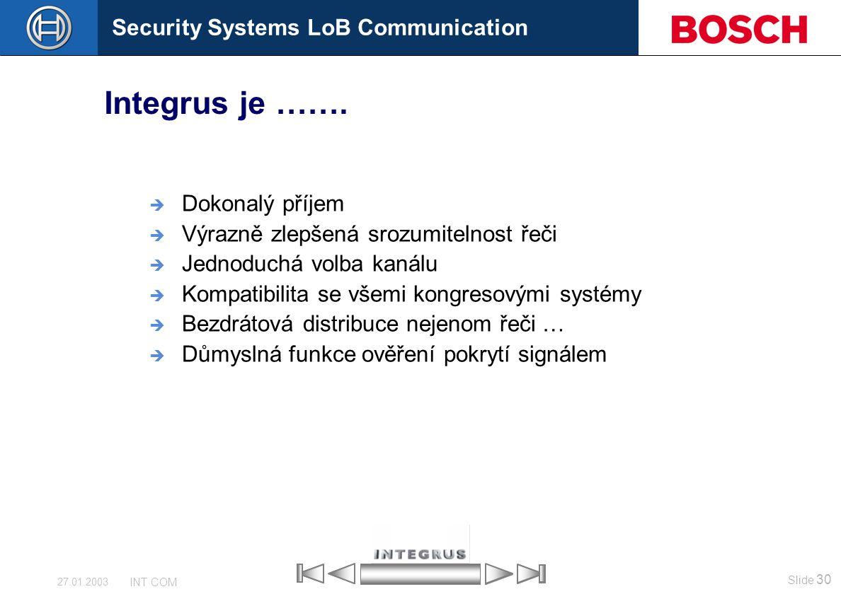 Security Systems LoB Communication Slide 30 INT COM 27.01.2003  Dokonalý příjem  Výrazně zlepšená srozumitelnost řeči  Jednoduchá volba kanálu  Ko