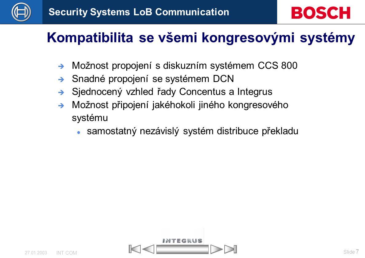 Security Systems LoB Communication Slide 7 INT COM 27.01.2003 Kompatibilita se všemi kongresovými systémy  Možnost propojení s diskuzním systémem CCS