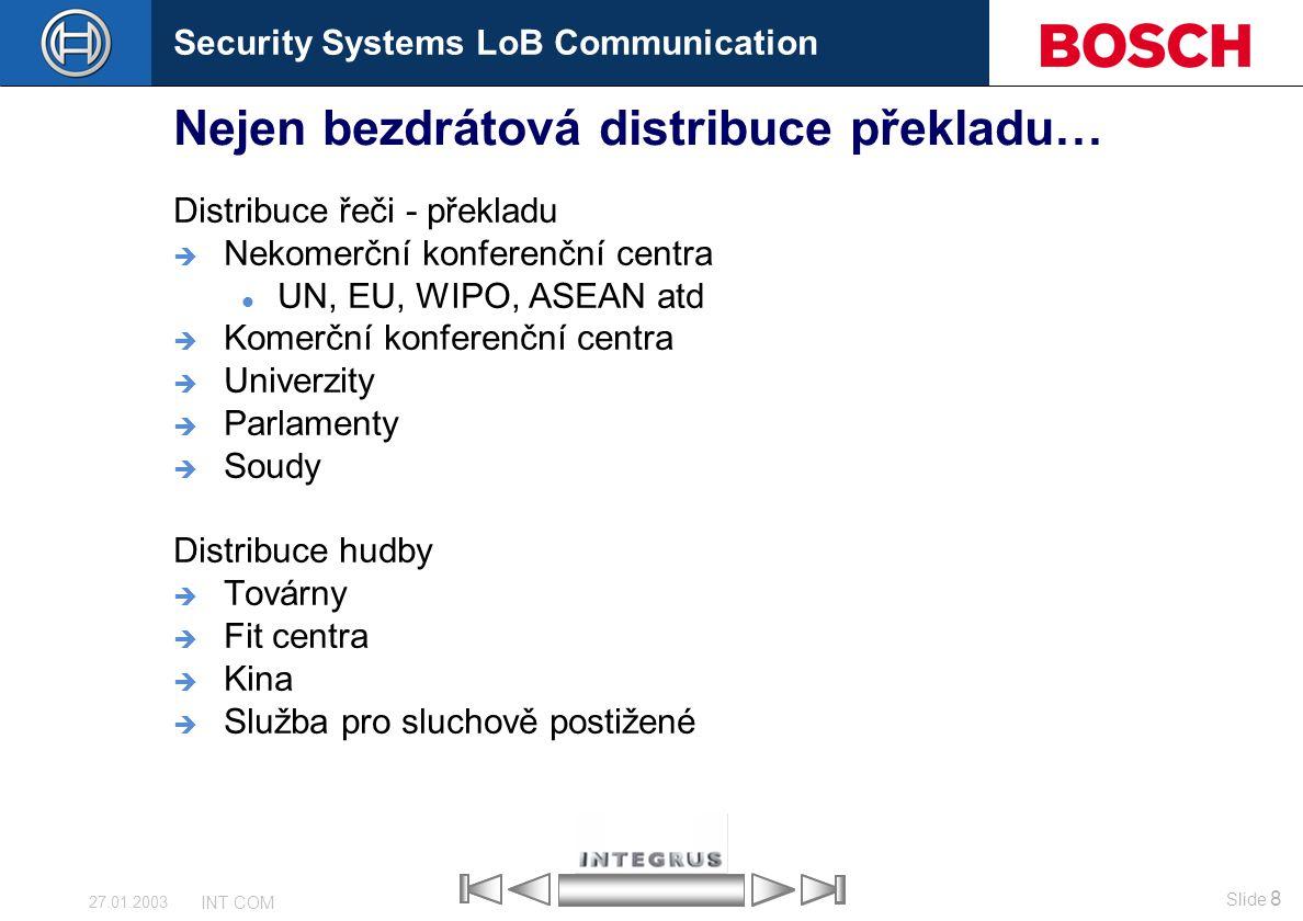 Security Systems LoB Communication Slide 8 INT COM 27.01.2003 Nejen bezdrátová distribuce překladu… Distribuce řeči - překladu  Nekomerční konferenčn