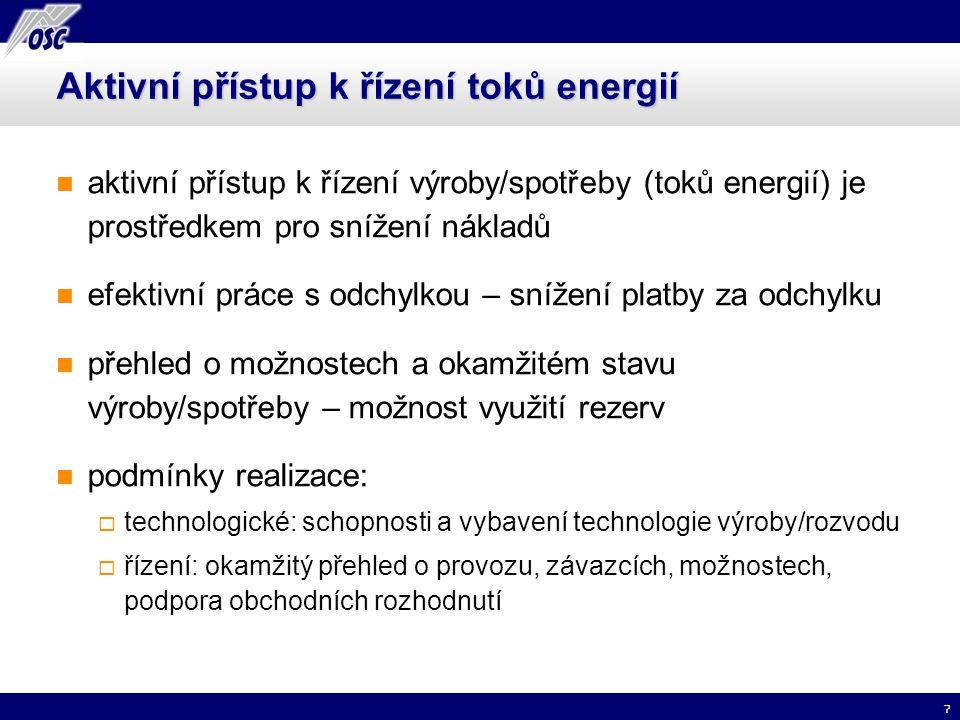 7 Aktivní přístup k řízení toků energií aktivní přístup k řízení výroby/spotřeby (toků energií) je prostředkem pro snížení nákladů efektivní práce s o