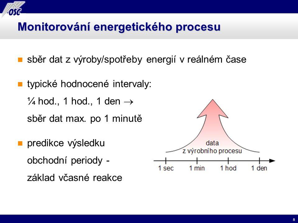 8 Monitorování energetického procesu sběr dat z výroby/spotřeby energií v reálném čase typické hodnocené intervaly: ¼ hod., 1 hod., 1 den  sběr dat m