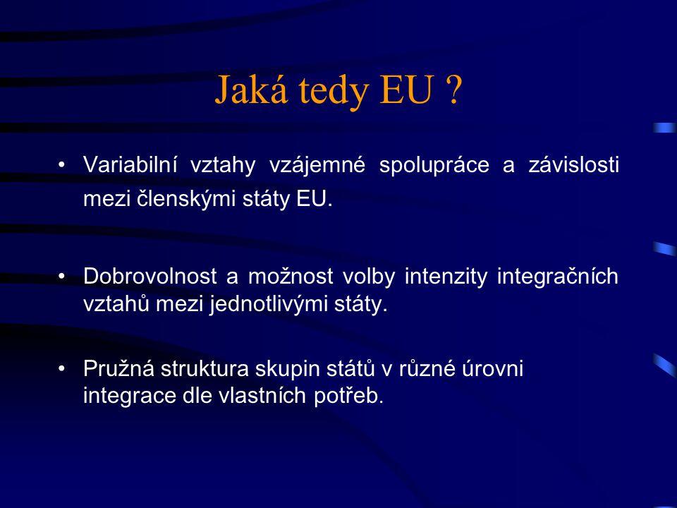 Jaká tedy EU . Variabilní vztahy vzájemné spolupráce a závislosti mezi členskými státy EU.