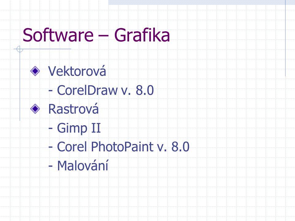 Software – Grafika Vektorová - CorelDraw v. 8.0 Rastrová - Gimp II - Corel PhotoPaint v.
