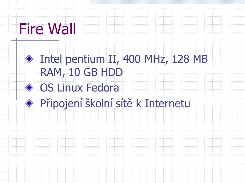 Fire Wall Intel pentium II, 400 MHz, 128 MB RAM, 10 GB HDD OS Linux Fedora Připojení školní sítě k Internetu