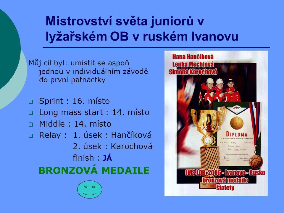 Mistrovství světa juniorů v lyžařském OB v ruském Ivanovu Můj cíl byl: umístit se aspoň jednou v individuálním závodě do první patnáctky  Sprint : 16.