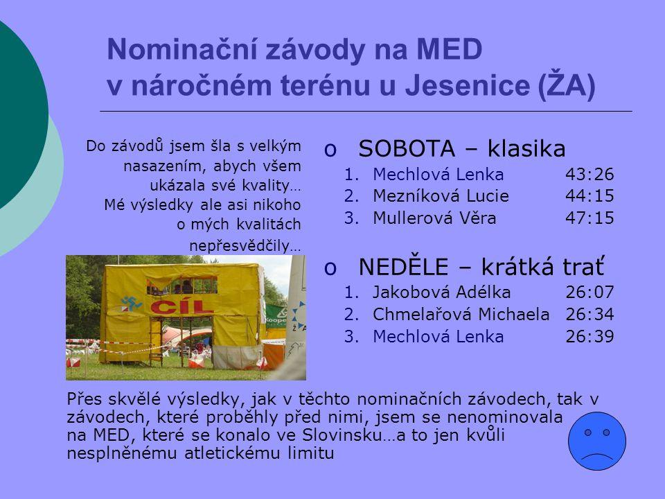 Mistrovství ČR na krátké trati Roštejn 1.Kubátová Zuzana 29:23 2.