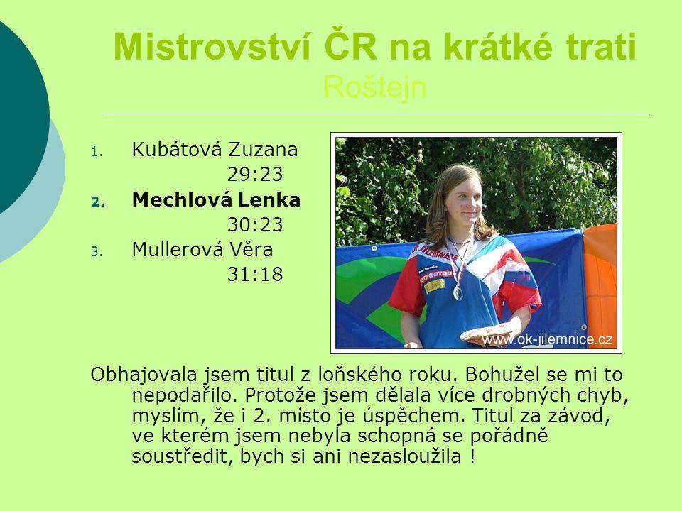 Mistrovství ČR na krátké trati Roštejn 1. Kubátová Zuzana 29:23 2.