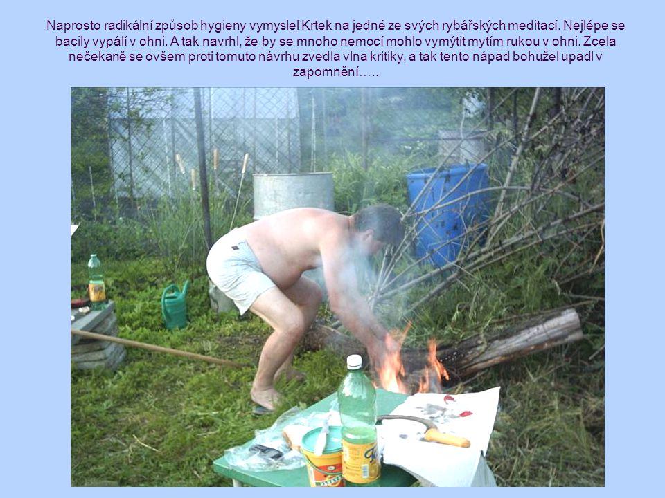 Naprosto radikální způsob hygieny vymyslel Krtek na jedné ze svých rybářských meditací. Nejlépe se bacily vypálí v ohni. A tak navrhl, že by se mnoho