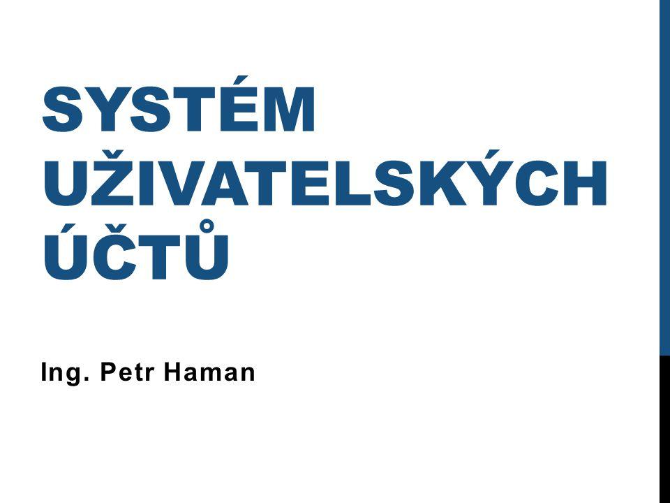 SYSTÉM UŽIVATELSKÝCH ÚČTŮ Ing. Petr Haman