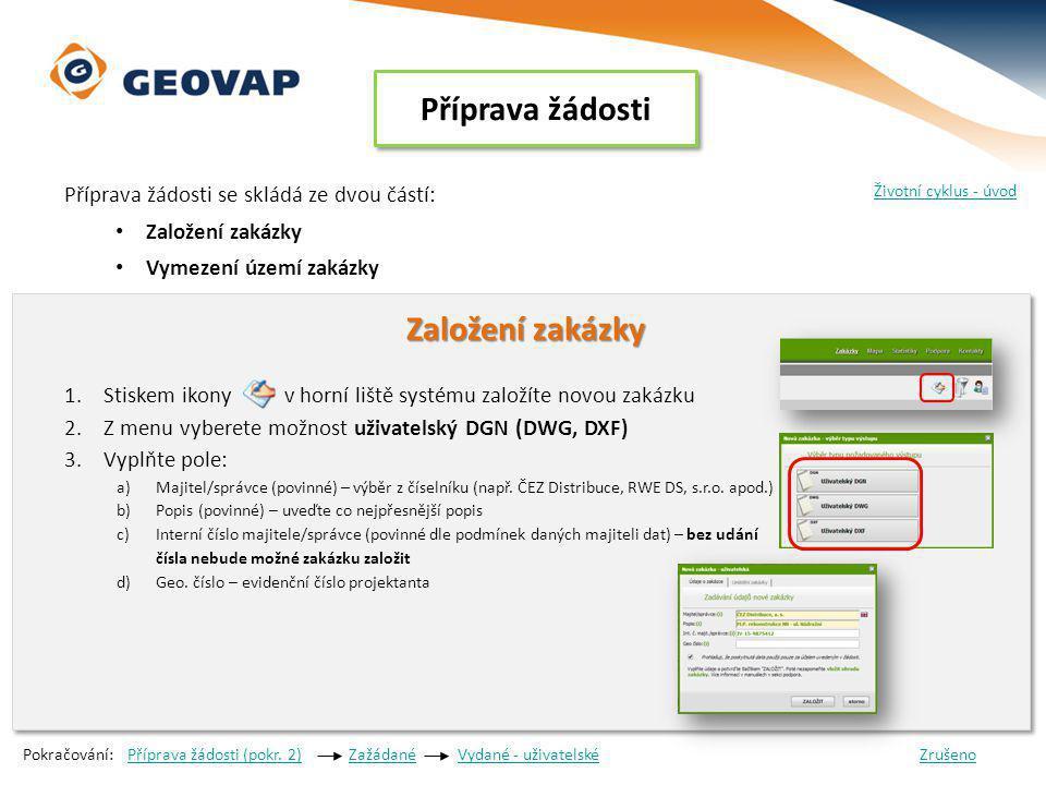 Příprava žádosti Příprava žádosti se skládá ze dvou částí: Založení zakázky Vymezení území zakázky Založení zakázky Založení zakázky 1.Stiskem ikony v horní liště systému založíte novou zakázku 2.Z menu vyberete možnost uživatelský DGN (DWG, DXF) 3.Vyplňte pole: a)Majitel/správce (povinné) – výběr z číselníku (např.