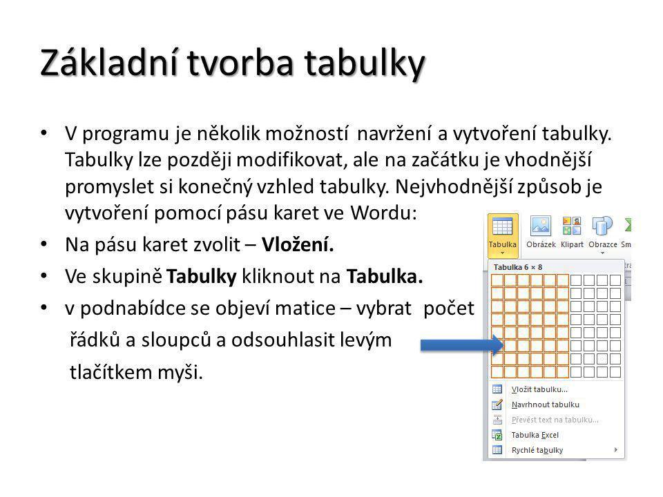 Základní tvorba tabulky V programu je několik možností navržení a vytvoření tabulky. Tabulky lze později modifikovat, ale na začátku je vhodnější prom