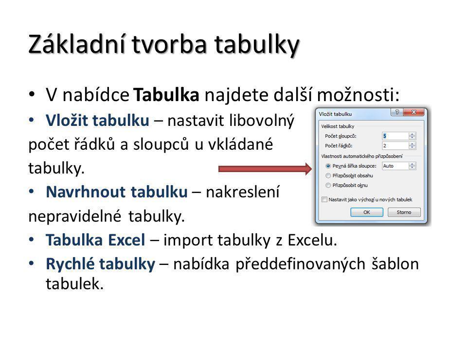 Základní tvorba tabulky V nabídce Tabulka najdete další možnosti: Vložit tabulku – nastavit libovolný počet řádků a sloupců u vkládané tabulky. Navrhn