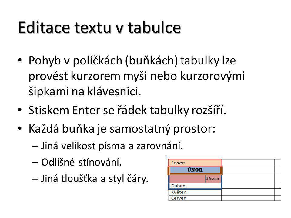 Editace textu v tabulce Pohyb v políčkách (buňkách) tabulky lze provést kurzorem myši nebo kurzorovými šipkami na klávesnici. Stiskem Enter se řádek t
