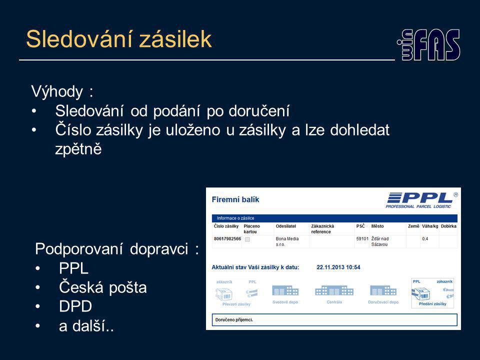 Spisová služba Vedení je dobrovolné (mimo veřejnoprávních subjektů) Zařazení zásilky pošty do spisového plánu Možnost výpisu zásilek, podle spisového plánu