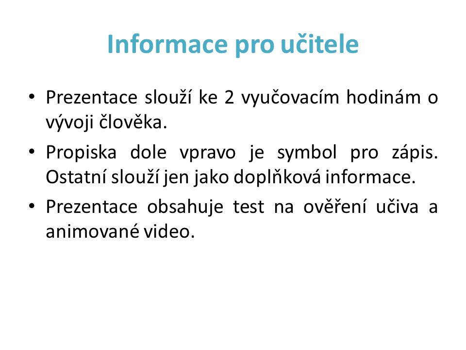 Informace pro učitele Prezentace slouží ke 2 vyučovacím hodinám o vývoji člověka.