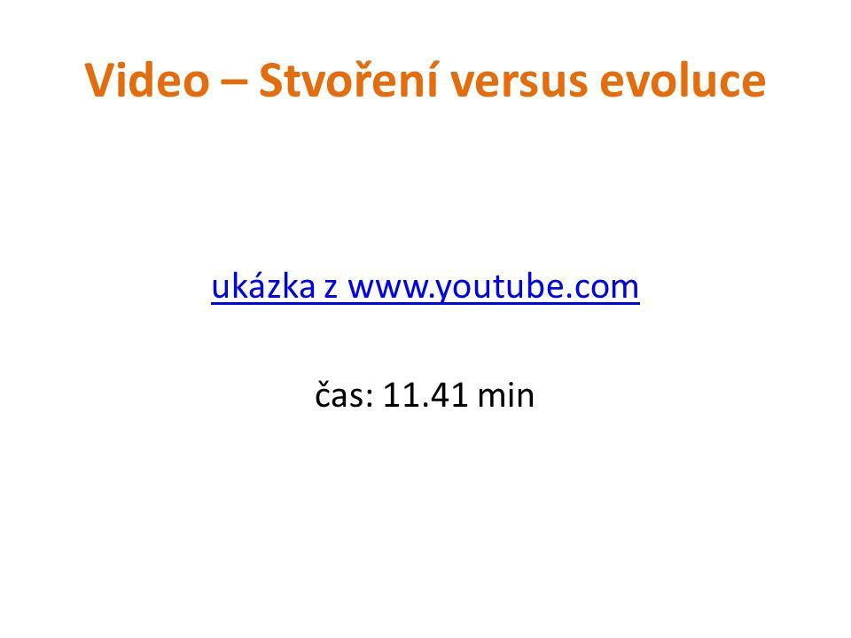 Video – Stvoření versus evoluce ukázka z www.youtube.com čas: 11.41 min