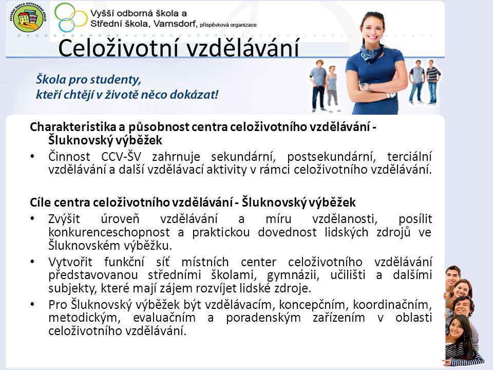Celoživotní vzdělávání Charakteristika a působnost centra celoživotního vzdělávání - Šluknovský výběžek Činnost CCV-ŠV zahrnuje sekundární, postsekundární, terciální vzdělávání a další vzdělávací aktivity v rámci celoživotního vzdělávání.