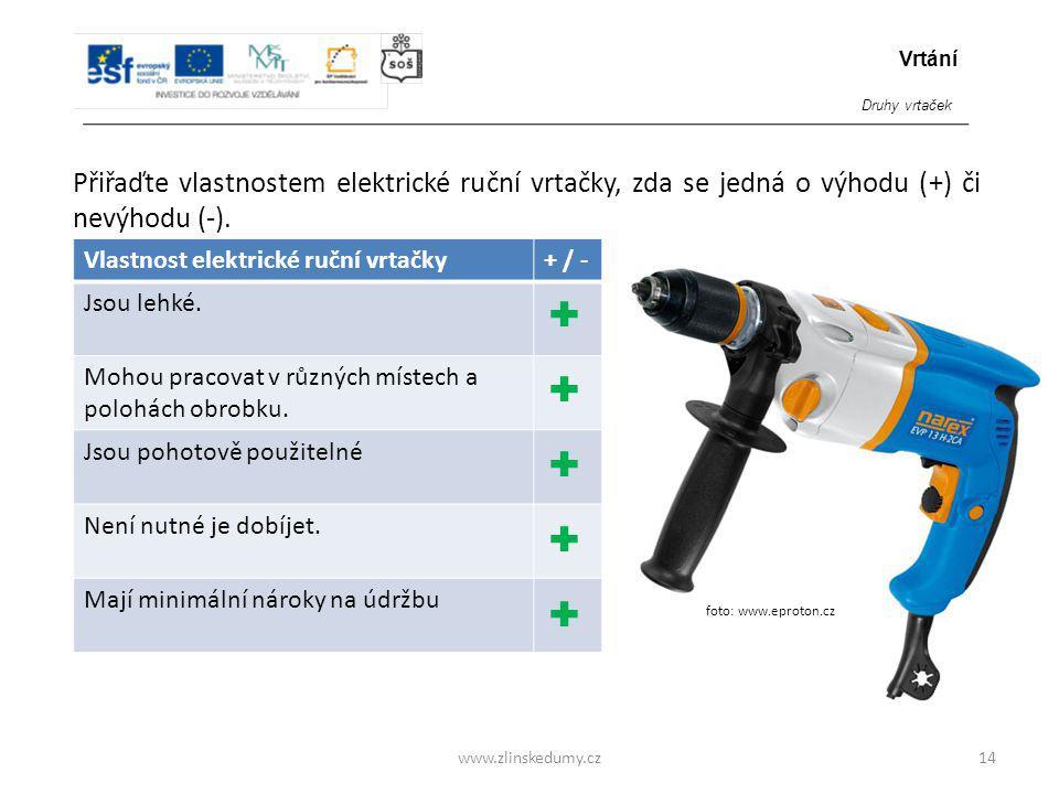 foto: www.eproton.cz www.zlinskedumy.cz Přiřaďte vlastnostem elektrické ruční vrtačky, zda se jedná o výhodu (+) či nevýhodu (-). 14 Vlastnost elektri