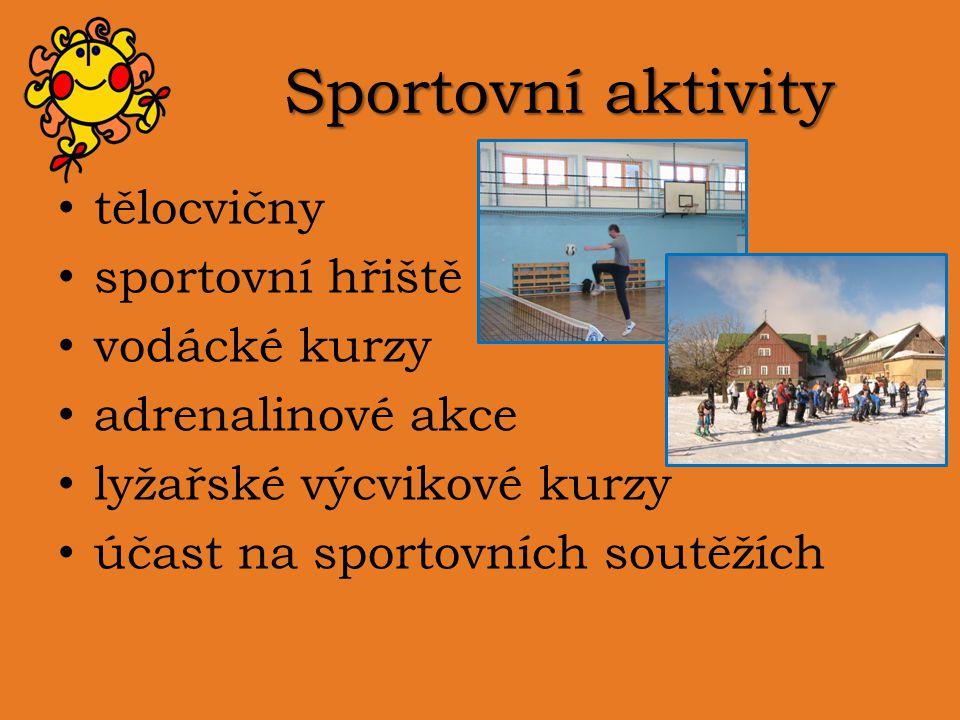 Sportovní aktivity tělocvičny sportovní hřiště vodácké kurzy adrenalinové akce lyžařské výcvikové kurzy účast na sportovních soutěžích