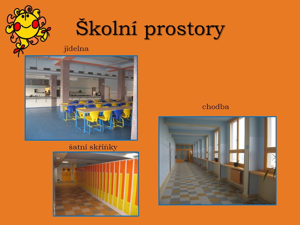 Školní prostory jídelna chodba šatní skříňky