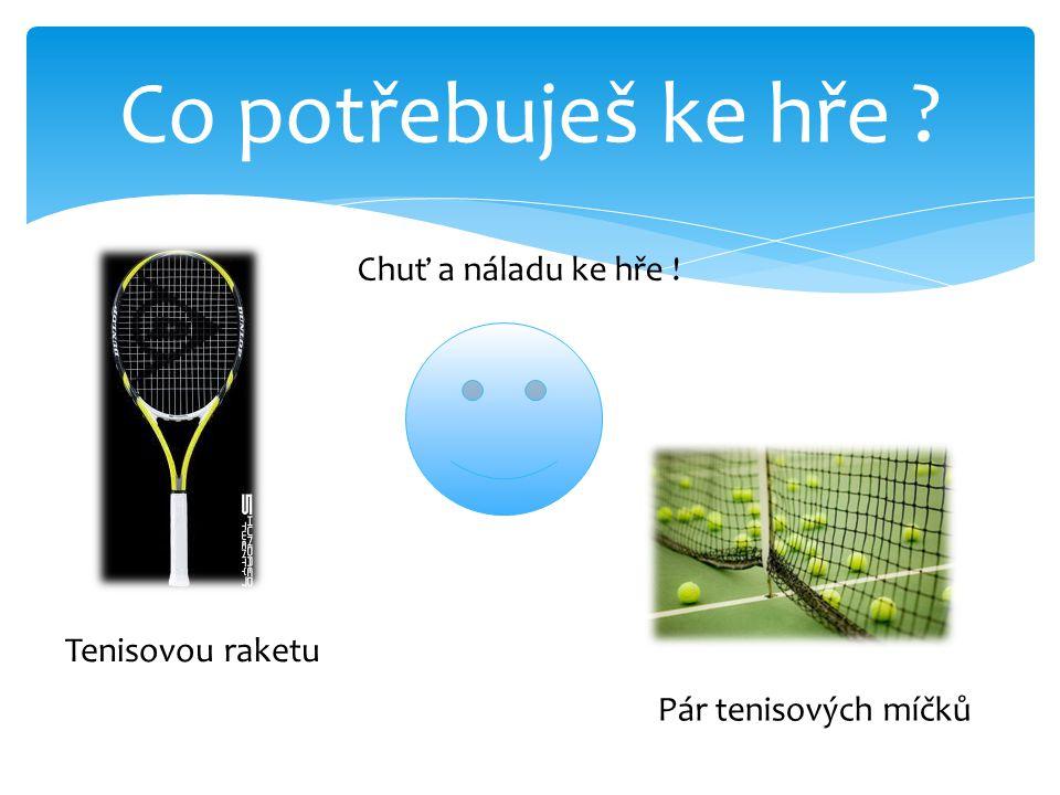 Co potřebuješ ke hře ? Tenisovou raketu Pár tenisových míčků Chuť a náladu ke hře !