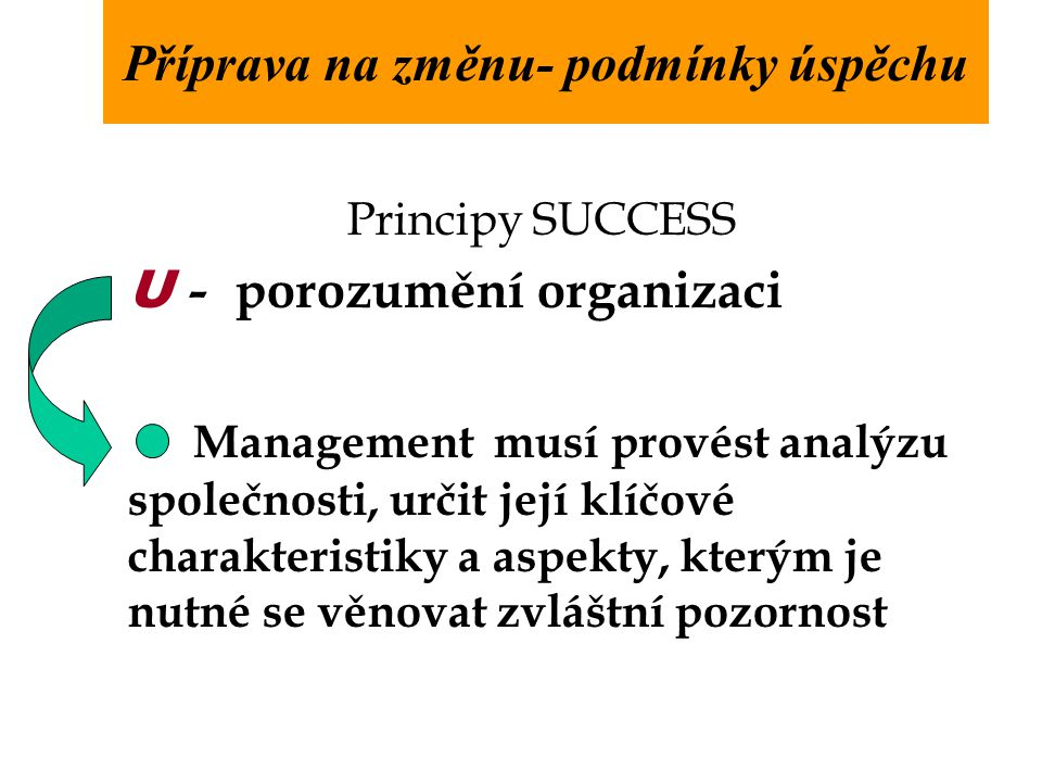 Principy SUCCESS U - porozumění organizaci Management musí provést analýzu společnosti, určit její klíčové charakteristiky a aspekty, kterým je nutné se věnovat zvláštní pozornost Příprava na změnu- podmínky úspěchu
